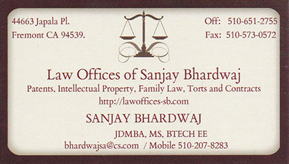 Business Card - Sanjay Bhardwaj